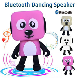 Wholesale X Mini Speakers - Mini Dancing Dog Bluetooth Speaker Super Cute Wireless Stereo Music Player Loudspeaker For iphone X 8plus 7plus Samsung With Retail Box