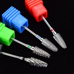Wholesale Carbide Nail Drill - hina nail drill Suppliers 2017 Tungsten Carbide Bullet Burr Cutter Nail Drill Accessory for Milling Clean Electric Manicure Machine Bit S...