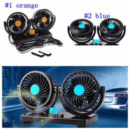 Wholesale 24v Cooler Fans - DC 12V 24V Auto Car Fan 360 Degree Rotatable Powerful ABS Fans Adjustment Dual Head Car Auto Cooling Air Fan LJJM29