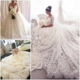 Wholesale Wedding Gowns Muslim Brides - 2018 Gorgeous Lace Ball Gown Wedding Dresses White Ivory Half-sleeves Bridal Gowns Sheer Neck Beach Wedding Dresses for Bride Appliques