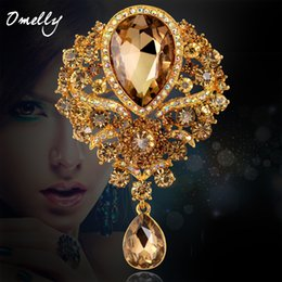 Wholesale Cheap Scarves China - Large Size Colorful Rhinestone Champagne Crystal Brooch Scarf Buckle Wedding Bouquet Brooches Pin Wholesale Cheap Price New Design 9 Colors