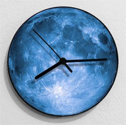 Wholesale Moon Watch Design - Fashion 3D 30cm Large Moon Design Clock Creative Star Design Wall Watch For Home Shop Bedroom Novelty Hang Decoration 36sh Z