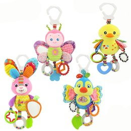 Wholesale Butterfly Plush - Baby Animal Rattles Toy Kids Soft Butterfly Bird Rabbit Duck Plush Toy Teether With Sounds Infant Stroller Bed Crib Hanging Toys