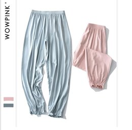 Wholesale Pajamas Black - 2018 years pajamas female new pajamas pants trousers pure cotton loose casual thin large size wear home pants spring and autumn Sleep Bottom