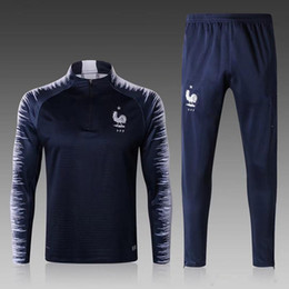 Wholesale Full Feet - 2018 2019 World Cup French tracksuit maillot de foot French national football training suit football jacket