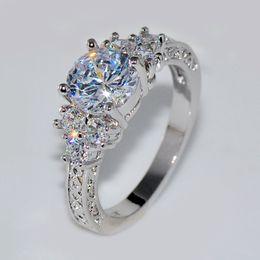 Wholesale Women Stylish Rings - Splendent White Stone Stylish Jewelry Women Men Wedding Ring Anel Aneis White Gold Plated Engagement Rings Sz6-11