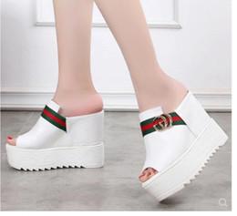 Sandalen 33 online-Slope and Sandals Dicke mit High Heels und Pantoffeln Damen Lederpantoffeln Flip-Flops Größe 33 - 40