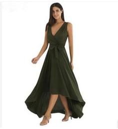 Canada 2018 modèles d'explosion européenne et américaine femmes V-cou ourlet robe irrégulière jupe longue Offre