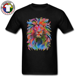 2020 conception d'art t shirts Crew Neck 100% Coton Mâle T Shirts Art Culture Peinture Lion Design Graphic Europe Tee Shirt 2018 Nouveau Livraison Gratuite promotion conception d'art t shirts