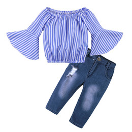 Kids Clothing Set Off Shoulder Stripe Top Spring Autumn Baby Clothes for  Girls Outfits Toddler Fashion Tshirt Jeans New discount baby top jeans 8083640c2