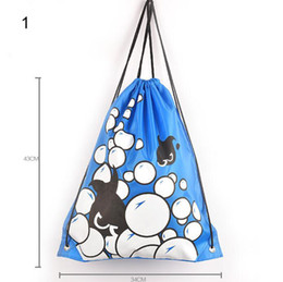 Wholesale Kids Backpack Free Shipping - Multicolor casual storage bag kids waterproof oxford cloth beach toys receive bag drawstring backpack adult fitness swimming bag free ship