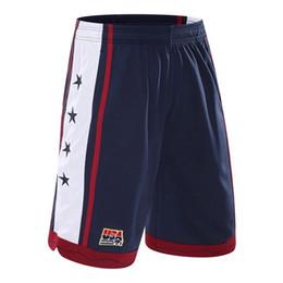 Pantalones cortos hombres poliéster online-Pantalones cortos de baloncesto de EE. UU. Hombres Malla de poliéster Pantalones cortos de correr deportivo Homme Cordón Joggers de gimnasio Bermudas Surf Pantaloncini Basket