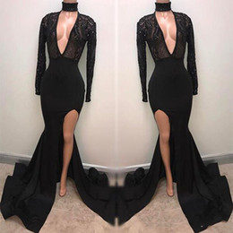 Wholesale Fabulous Evening Gowns - Fabulous Fashion Black V-Neck Mermaid Prom Dresses 2018 Appliques Long Sleeves Plunging Sexy Split Evening Gowns Pageant Celebrity Dress