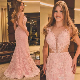 Wholesale Vintage Fishtail Dresses - Blush Pink Lace Illusion full Evening Dresses 2018 Lace Appliques Beads Mermaid Cutside Fishtail Princess Occasion Prom Party Dress