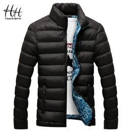 short fitted down jacket Promo Codes - HanHent Thicken Standing Collar Men Short Paragraph Winter Warm Clothes Casual Style Solid Color Fit Collar Men's Down Jacket