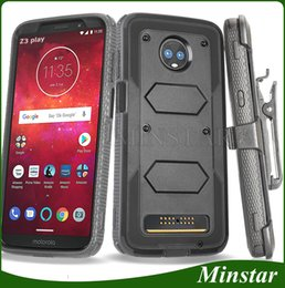 case for z3 Promo Codes - For Motorola Moto G7 Power G6 Play Z3 Play E5 Plus Supra E5 Play Cruise Boost Mobile Metro Hard PC TPU Clip Case Holster Combo Cover