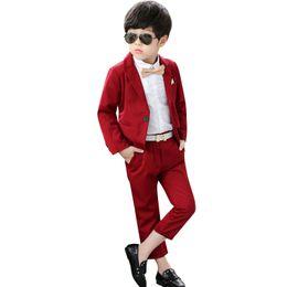 розовый костюм для галстука-бабочки Скидка Пользовательские мужские красный джентльмен одной кнопки костюм из двух частей костюм (куртка + брюки) дети красивый бизнес формальный костюм платье