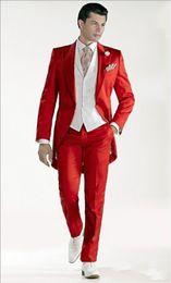 Estilo de la mañana, un botón, azul marino, novio, chaleco de boda, padrinos de boda, hombres, trajes de baile personalizados (chaqueta + pantalón + chaleco + corbata) desde fabricantes