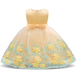 2019 vestido de manga longa de 18 meses Baby Girl Floral Vestido de Princesa Batismo Vestidos para Meninas 1 º Aniversário Festa De Aniversário Batismo Criança Roupas Infantis