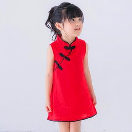 Wholesale traditional chinese dressing gown - baby girl Chinese dress clothes summer style children cotton short sleeve Traditional dresses
