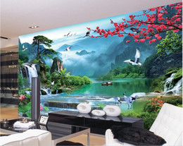 woods country decor Promo Codes - 3d wallpaper custom photo mural Chinese natural scenery river background wall Home decor 3d wall murals wallpaper for walls 3 d living room