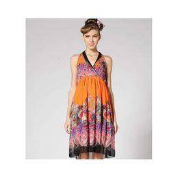 aad1e262d4 New printed silkworm silk linen sleeveless long silk hemp dress ladies silk  long skirt loose leaf shadow flower