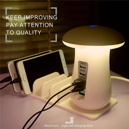 Wholesale Usb Power Station - 5 Ports Quick Charge 3.0 USB Smart Phone Charger Fast Charging Station 5V 2.1A Dock Power Adapter Mushroom LED Desktop Lamp
