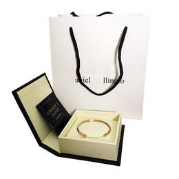 Wholesale 18k Gold Bracelet Mens - 100% High quality DW Bracelets Cuff Rose Gold Silver Bangle All Stainless steel Bracelet Women and Mens Bracelet with Original box