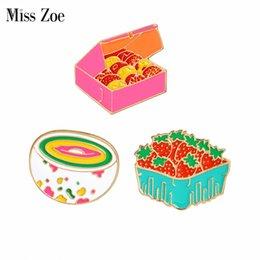 Wholesale cookie girl - Cartoon gift box cookies strawberry rainbow bowl pins Brooch Denim Jacket Pin Buckle Shirt Badge Gift for Kids girls