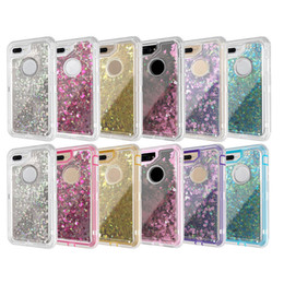 Wholesale Robot Defender - 3 in 1 Fashion Glitter Liquid Quicksand Case Bling Crystal Robot Defender Cases Cover For iPhone X 8 7 Plus For Samsung S8 S9 Plus