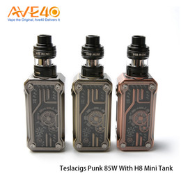 Танковый панк онлайн-Аутентичные Тесла панк 85W комплект с H8 мини суб ом танк питание от одной батареи атомайзер поставляется с E8 и E2 катушки
