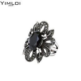 Wholesale Rings Hipsters - whole saleYIMLOI 2018 Punk Rock Ring Jewelry Silver Color Ancient Black Stones Hollow Out Female Personality Hipster Index Finger Rings