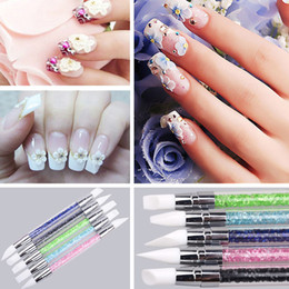 Wholesale nail art pen way - Crystal Rhinestone Decor Handle Pen 2 Way Silicone Head Carving Emboss Shaping Sculpture Nail Art Manicure Dotting Tools