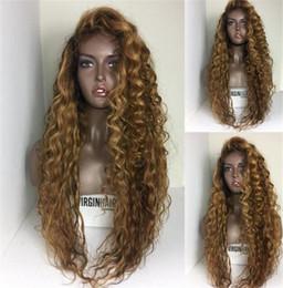 Cabello humano negro ombre online-Pelucas llenas del pelo humano del cordón de Glueless con el pelo del bebé 150% de la Virgen del pelo brasileño de la onda floja Frente del cordón de la miel peluca rubia para las mujeres negras