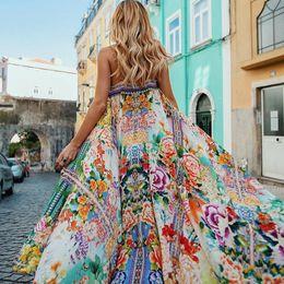 Wholesale strapless boho maxi dress - 2018 Women Sexy Holiday Dress Floral Printing Maxi Long Robes Strapless Backless Summer Boho Dress Loose Beach Dress