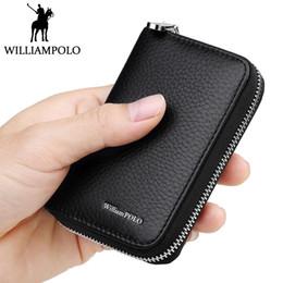 WILLIAMPOLO Haut De Gamme Titulaire La Carte Credit En Cuir Veritable Piece Poche Petit Zipper Business ID Hommes