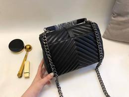Wholesale Designe Handbags - 2018 newest brand 100% genuine leather purse Bag Handbag Women Cross Body famous brand Classic designe bag Edge lattice and V lines