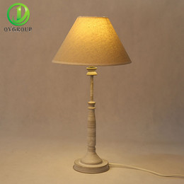 Wholesale vintage art deco fabric - Vintage LED Bulb Holder Table Lamps Iron Base Light Fabric Lampshade Lamp,E14 Bedside Table Lights, Night light OY16T07