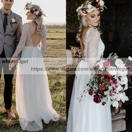 Wholesale Colorful Bohemian Dresses - Stunning 2018 Beach Bohemian Wedding Dresses Sheer Long Sleeve Lace backless Summer chiffon Wedding Gowns Bridal Dress