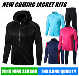 Wholesale Brown Sweater Xl - 2018 hoodies JACKET Training KITS outfits Tracksuits jersey INIESTA O.DEMBELE PIQUE SOCCER FOOTBALL calcio fútbol messi SWEATER new