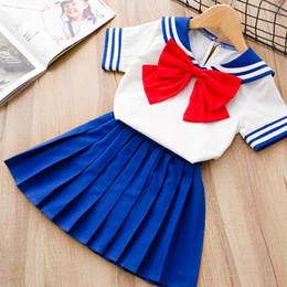 Luna de marinero xxl online-Anime japonés Kid Baby Girls Sailor Moon Cosplay Vestido Bowknot Kawaii Lolita Uniforme Niños Fiesta de Halloween traje encantador