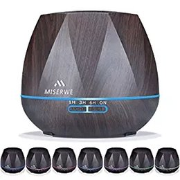 Wholesale Office Aromatherapy - Miserwe 550ML Aromatherapy Essential Oil Diffuser for Home Office Bedroom Nursery(Black)