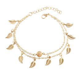 Argent Or Double Couche Feuille De Gland Bracelets Bracelets Plage De Pied Chaîne De Mode Bijoux pour Femmes Drop Ship 320076 ? partir de fabricateur