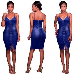 Wholesale knee length sleeveless denim dress - Sexy Denim Dress Sleeveless Spaghetti Strap Deep V-Neck Pencil Dress 2018 Summer Fashion Slim Casual Lace-up Party Dress Wholesale