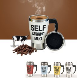 Wholesale blue mixers - Self striring mug 350ml stainless steel automatic mixer tea coffee mug dry bettery lazy coffee cup office home gifts 6 colors