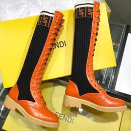 2019 botas ocasionales de invierno de las señoras Diseñador de moda de lujo para mujer muslo botas botas carta caliente Calcetines de punto botas casuales de Martin botas de senderismo botas de invierno de las señoras botas ocasionales de invierno de las señoras baratos