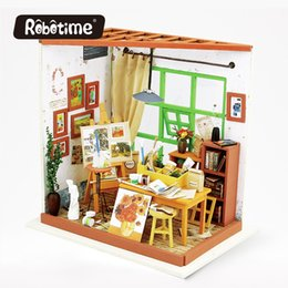 Wholesale Furniture Displays - Robotime 3D Puzzle DIY Crafts Furniture Kit Dollhouse Japanes Dollhouse Miniature Accessoires Display Drawing DG103