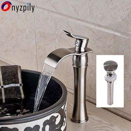Wholesale pop up drains - Single HandleWaterfall Spout Bathroom Sink Vessel Faucet Mixer Tap Pop Up Drain