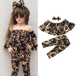 летние свободные топ-девушки Скидка Fashion 3Pcs Casual Baby Girl Off-shoulder Tops+Loose Pants Leggings+Headband Summer Clothes
