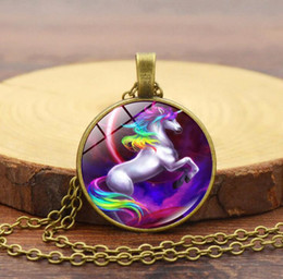 Wholesale Sweater Rainbow Woman - Unicorn Glass Cabochon Necklace Ancient Silver Black Chain Rainbow Horse Pendant Fashion Jewlery Sweater Necklace For Women Gift